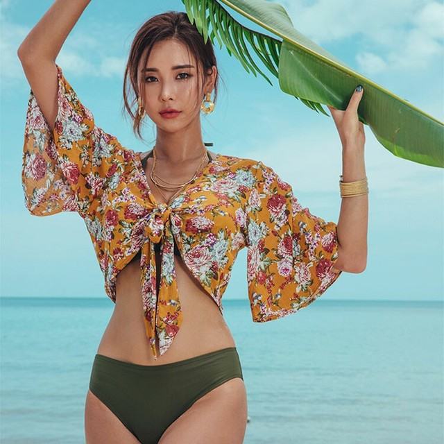 Bikini Korean Print Swimwear Swimwear Women's Army Green Chest Gathering Sexy Three-Point Bikini 3 piece Net Red Swimwear A3043