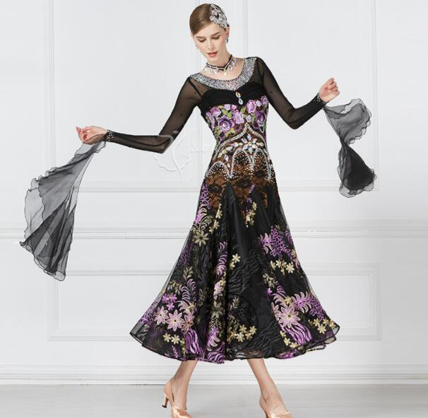 half off a9b2f 26c5d US $385.0 |Concorso di danza abiti da ballo standard del vestito nero con  fiore standard di donne del vestito da ballo delle donne sala da ballo ...
