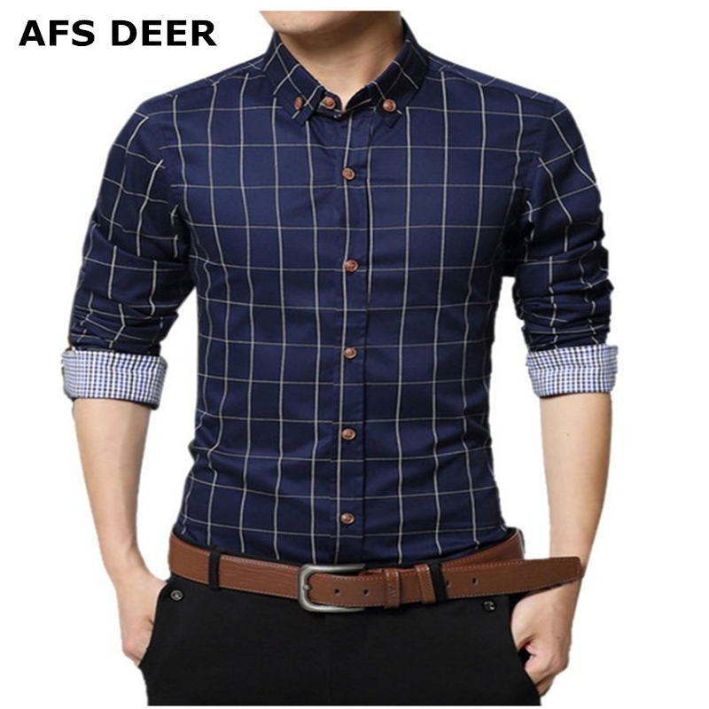 Men Long Sleeve Slim Fit Plaid Shirt Button Down Dress Shirts