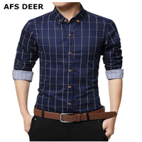 Men's 100% Cotton Long Sleeve Plaid Slim Fit Button Down Dress Shirt checked style male causal shirt mens clothing plus size