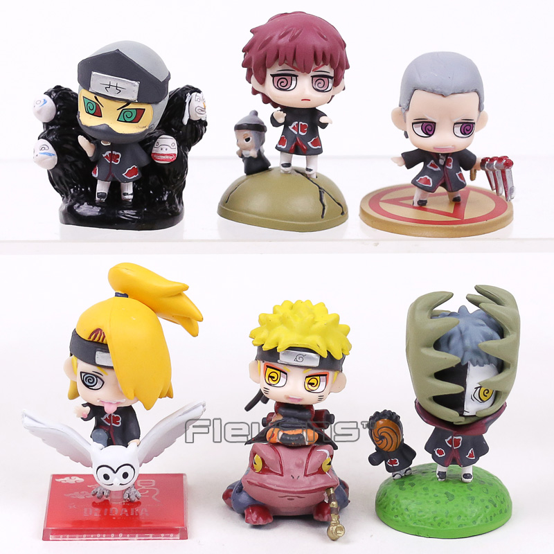 Naruto Shippuden Akatsuki Zetsu Sasori Deidara Kakuzu Hidan Naruto Mini PVC Figures Toys 6pcs/set 6cm sonny angel mini figures easter series 6pcs set toys christmas