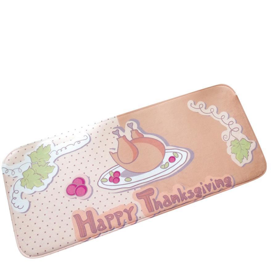 Flannel carpet Doormat Thanksgiving Piano Banana Mat Kitchen Carpets Memory Foam Bathroom Absorbent Non-slip Mat