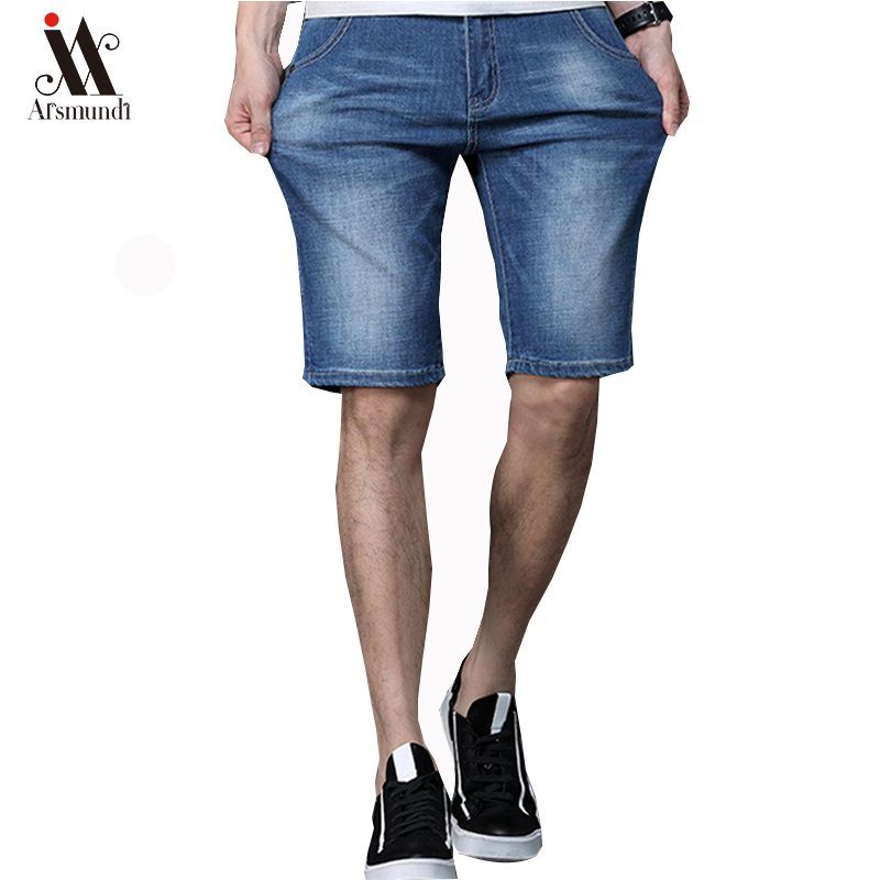 Jeans Men Short Male Straight Men's Cotton Blue Solid Casual High Good-Quality
