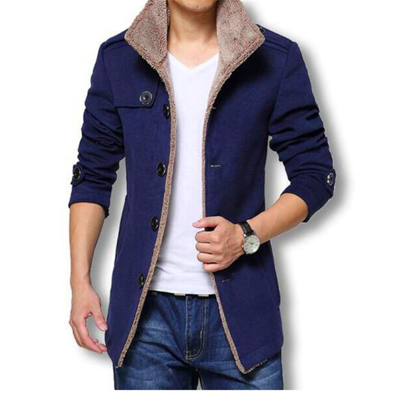 Winter Long Wool Coat Men Jackets And Coats Slim Fit Mens Windbreaker High Quality Trench Coat Plus Size 2018 Hot Sale Jacket