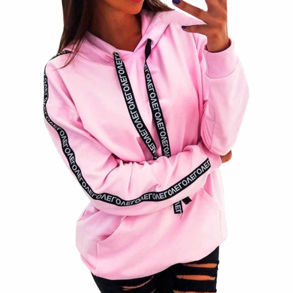 2019 Women Autumn Sweatshirt Women Long Sleeve Solid Hooded Pullover Tops Blouse Letter Print Hoodies Women Plus Size 5XL ##1