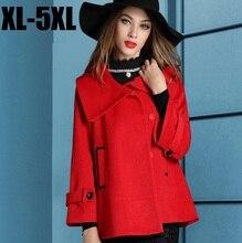 2015Fashion Women flare sleeve winter woolen trench coat lapel collar flare top cloak outwear loose ladies Abrigos MujerXXXXXL