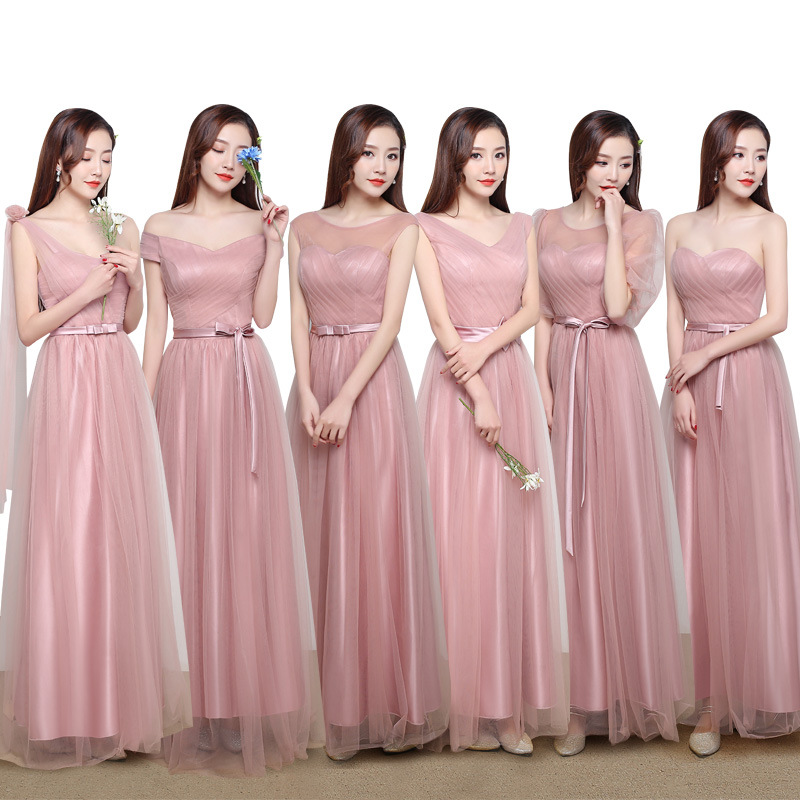 2019   bridesmaid     dress   female banquet long sisters skirt unilateral Korean wedding pink slim   bridesmaid     dress   wedding guest   dress