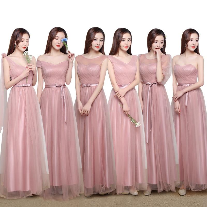 2019 robe de demoiselle d'honneur femelle banquet longues soeurs jupe unilatérale coréenne de mariage rose slim robe de demoiselle d'honneur robe d'invité de mariage