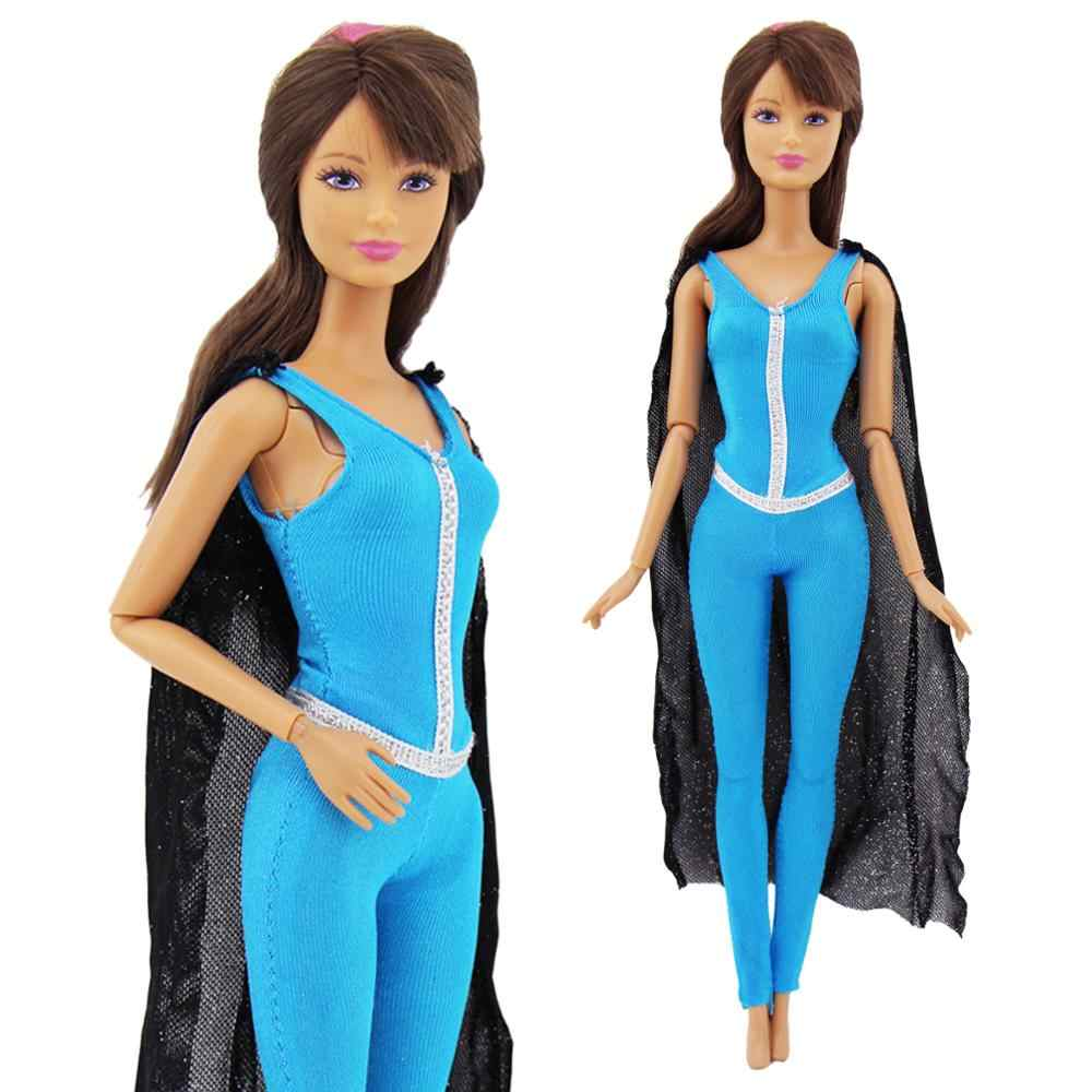 Detail Feedback Questions about 1 Pcs Fashion Outfit Copy Superwoman Black  Cloak Blue Jumpsuit Dinner Party Wear Clothes For Barbie Doll Accessories  DIY Kid ... 87f9bf69ddb1