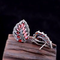 Earrings Silver 925 Natural Gemstone Vintage Retro Clip On Earings For Women Leaves Shape Fine Jewelry Bijoux