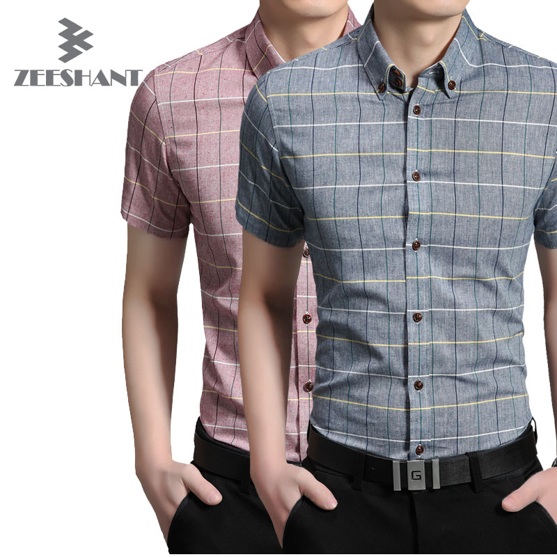 Brand clothing men casual short sleeve slim button up for Mens dress shirt sleeve length