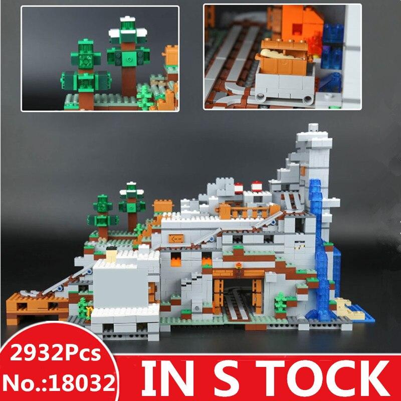 EN STOCK LEPIN 18032 Miniecraft 2932 pcs Mon La Montagne Grotte mondes Modèle Kit de Construction Blocs Briques Jouet pour Enfants