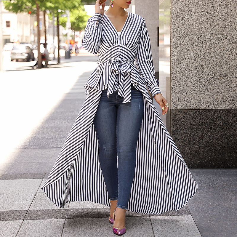 Women 2018 Autumn Fashion Casual Long Shirt Workwear Office Formal V-Neck Top Striped Tie Waist Dip Hem Irregular Blouse