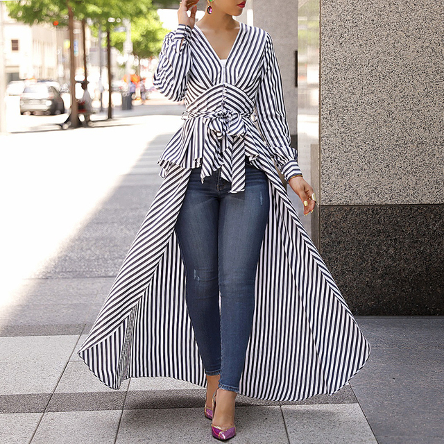 Women 2018 Autumn Fashion Casual Long Shirt Workwear Office Formal V-Neck Top Striped Tie Waist Dip Hem Irregular Blouse