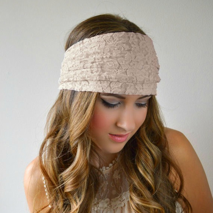Hot Sale !!Fashion Women Lady Girl Lace Wide Hairband Headband Bandanas  Headwear Sports Elastic Hair Band Accessories women girl bohemia bridal camellias hairband combs barrette wedding decoration hair accessories beach headwear