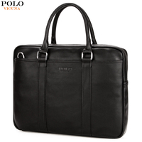 VICUNA POLO Fashion Business Mens Leather Briefcase Bag Trendy High Quality PU Material Men Handbag Brand