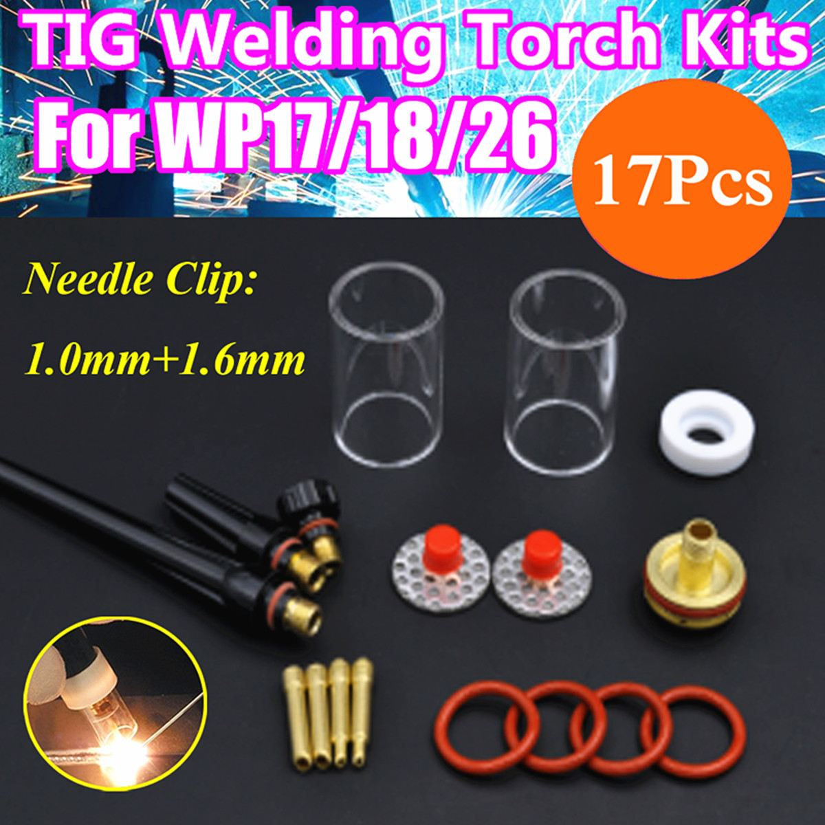 17Pcs/Set TIG Welding Torch Stubby Collet Gas Lens Nozzle Glass Pryex Cup Kit with Heat-Resistant O-rings For WP-17/18/26 Series wp 17f sr 17f tig welding torch complete 20feet 6meter soldering iron flexible