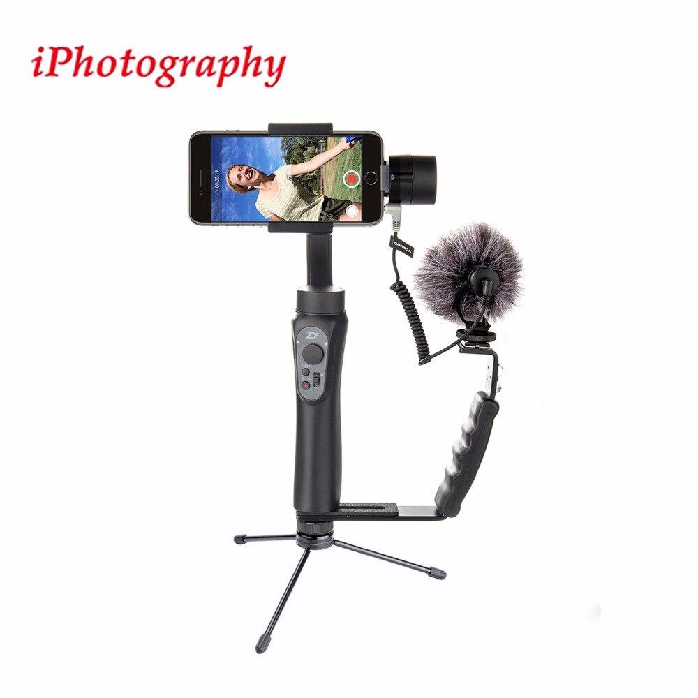 Zhiyun Smooth Q Handheld Gimbal Stabilizer+Microphone+Camera Grip L Bracket+Stand,Handheld Gimbal Kit for Smartphone,for Camera zhiyun smooth q 3 axis handheld gimbal stabilizer for smartphone