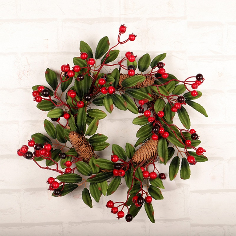 Image 4 - Christmas Wreath Door Decoration Artificial Foam Berry Wreath With Natural Pine Cone Pendant Wall Decor Wreath 40cm-in Wreaths & Garlands from Home & Garden