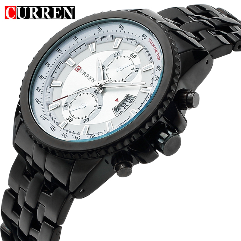 2017 Curren Fashion Casual Style Wristwatch Men With Complete Calendar Round Dial And Silver Alloy Strap