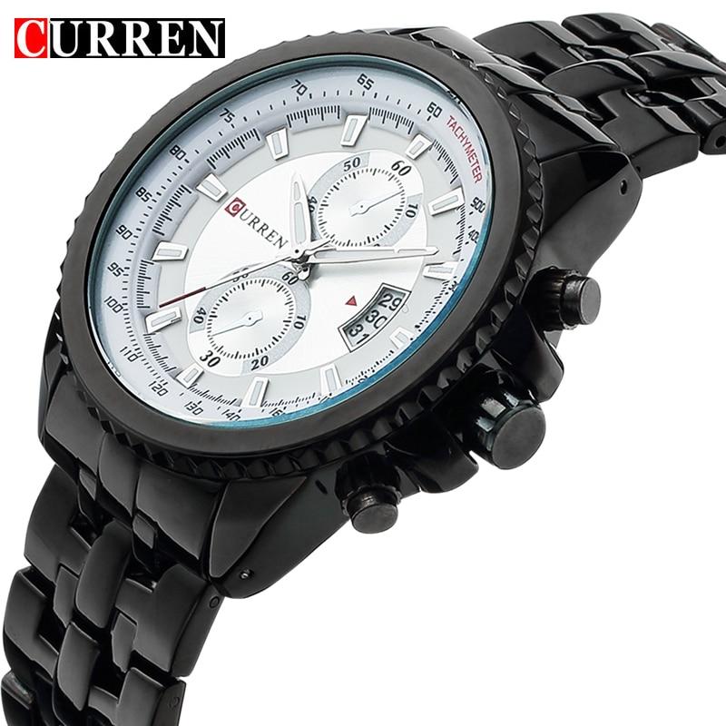 Prix pour 2017 curren mode casual style montre-bracelet des hommes avec calendrier complet cadran rond et argent bracelet en alliage pour les affaires montres