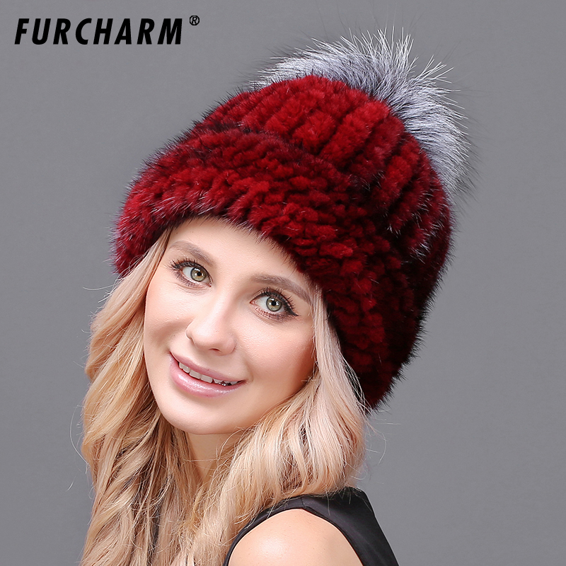 FURCHARM Real Mink Fur Hat For Women Winter Knitted Mink Fur Beanies Cap With Fox Fur Pom Poms Brand New Thick Female Cap gmancl real mink fur real fox ball cap for women girl s hat pom poms winter knitted beanies cap thick female genuine fur beanies