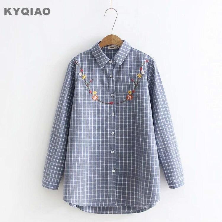Kyqiao Plaid Shirt 2019 Mori Girls Autumn Spring Japanese Style Fresh Vintage Long Sleeve Plaid Embroidery Blouse Blusa Women's Clothing