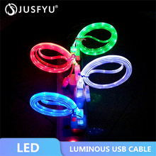 Micro USB Bright Data Line Cable Colorful emitting Charge Wire Led Luminous Tube Charging 1M For iPhone 6S Android LED