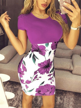 Summer Sexy Slim Bodycon Mini Party Dress Casual  Short Sleeve Splice Print Dress Knitted Vestidos 5XL Plus Size Women Clothing 5