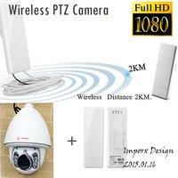 NEW FHD 1080 P 150 Mbps pontes Sem Fio ao ar livre PTZ Dome IR Câmera IP 1080 P com rastreamento Automático
