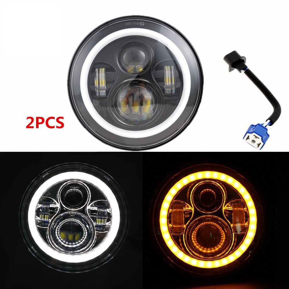 7'' Round Harley LED Headlight for Jeep CJ Wrangler JK LED Driving light with Halo ring Angel eyes DRL H4 to H13 Adapter
