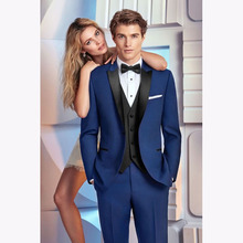 2017 slim Royal Blue Men Wedding Suits Groomsmen Jacket Slim Fit 3 Pieces smoking Tuxedo Custom mens Suit Prom Blazer Masculino
