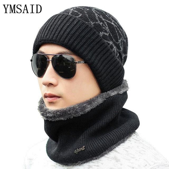 04fb7974673 Ymsaid warmer Winter Hat Knit Cap Scarf Cap Winter Hats For men Knitted Hat  Men Beanie Knit Hat Skullies Beanies Men Beanies Cap