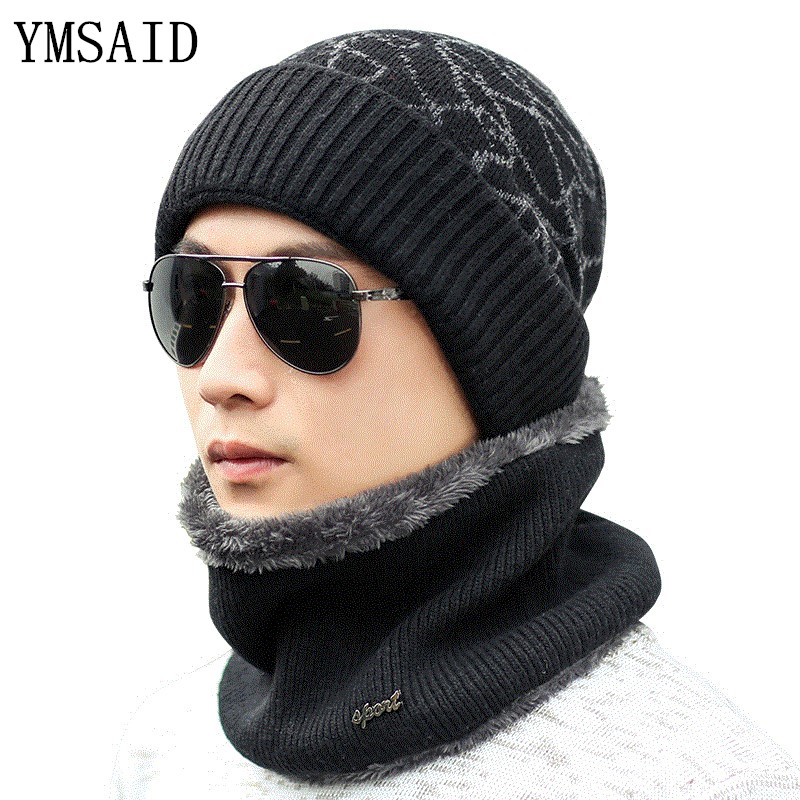Ymsaid warmer Winter Hat Knit Cap Scarf Cap Winter Hats For men Knitted Hat Men   Beanie   Knit Hat   Skullies     Beanies   Men   Beanies   Cap