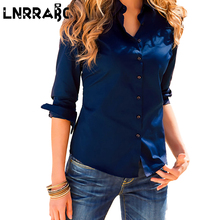 Sale 5Colors Femininas Turn Down Collar Elegant Long Sleeve Blouse Lady Office Shirts Clothing Solid Formal Clothing For Women