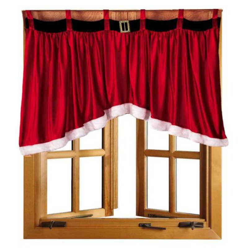 2019 Christmas Hot Sale Blended Cotton Door Window Drape Panel Christmas Curtain Decorative Home Wholesale #2n5