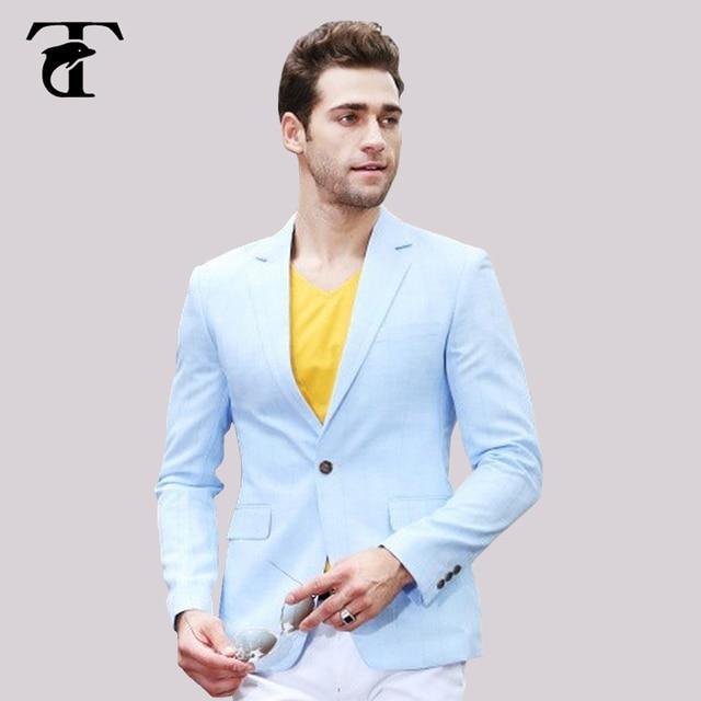 2017 azul tiras un botón hombres blazer azul hombre negocios casual Hombre  traje slim fit blazer 2c5c312f8ec