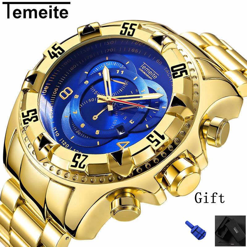Mens Große zifferblatt uhren luxus gold 316L edelstahl quarz männer armbanduhren wasserdicht kalender temeite marke mann uhr
