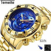 Мужские большой циферблат часы роскошные золотые 316L нержавеющая сталь кварцевые мужские наручные часы водонепроницаемый календарь temeite Брендовые мужские часы