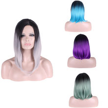 Brazilian Virgin Hair Straight Wigs Short Human Hair For Black Women And White Women All Machine Made Colorful Wigs(China)