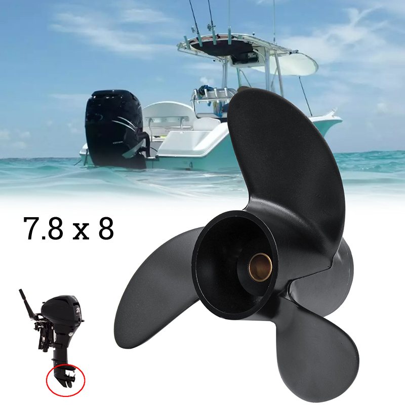 Black Propeller For Tohatsu Nissan Mercury 4 6HP 3R1W64516 0 Aluminum Outboard Propeller 7.8 X 8 Boat Accessories