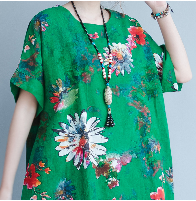 BelineRosa 2017 Big Sizes Women Clothing Bohemian Style Chinese Style Floral Printing Cotton Linen Dress 4XL 5XL HS000264 23
