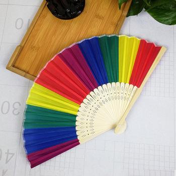 Rainbow ręczny składany wentylator taniec na wesele imprezy tematyczne dekoracji wentylator 100 sztuk tanie i dobre opinie Szycia Tkaniny Z tworzywa sztucznego