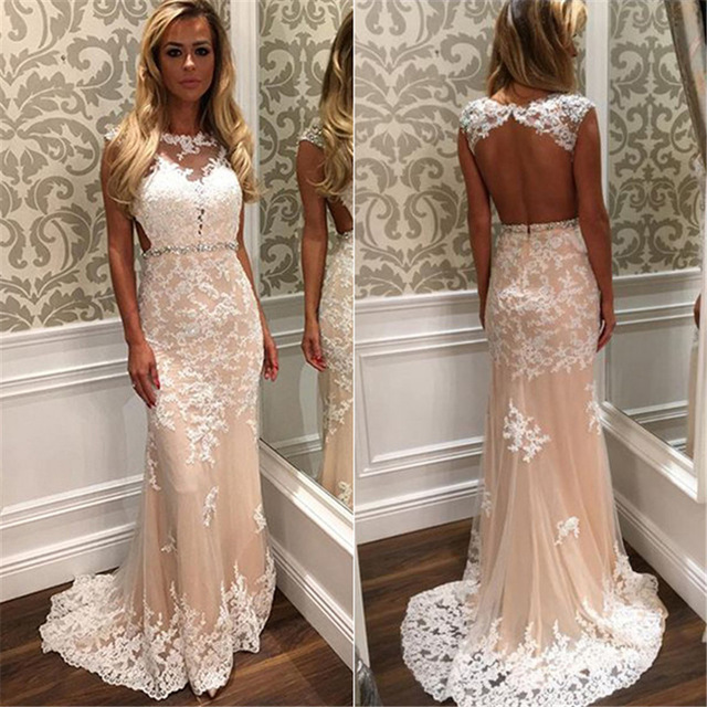 d5c223e1e37 Champagne White Appliques Lace Mermaid Prom Dress Sexy Backless ...