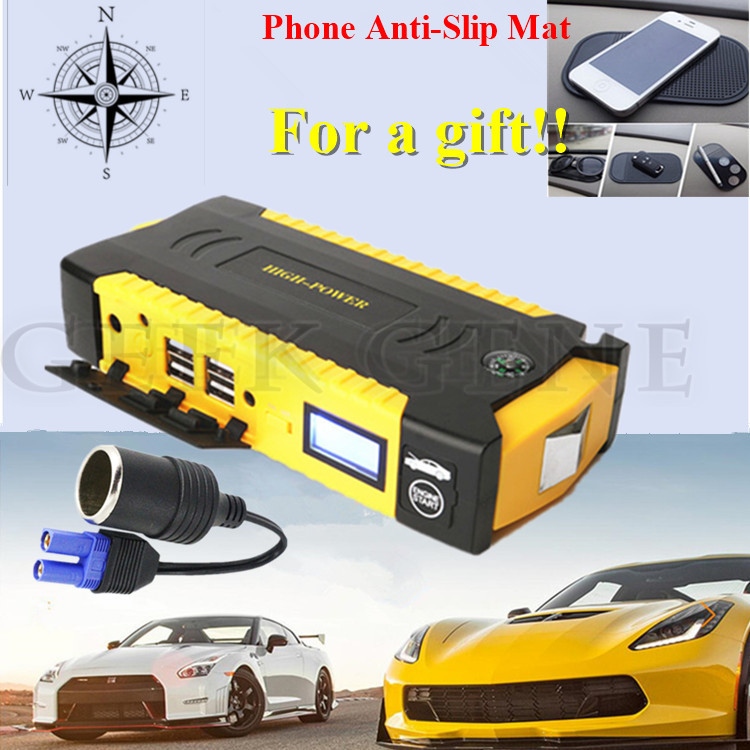 High Capacity 16000mAh Car Jump Starter 12V Mini Portable 4USB Power Bank Compass 600A Peak Car
