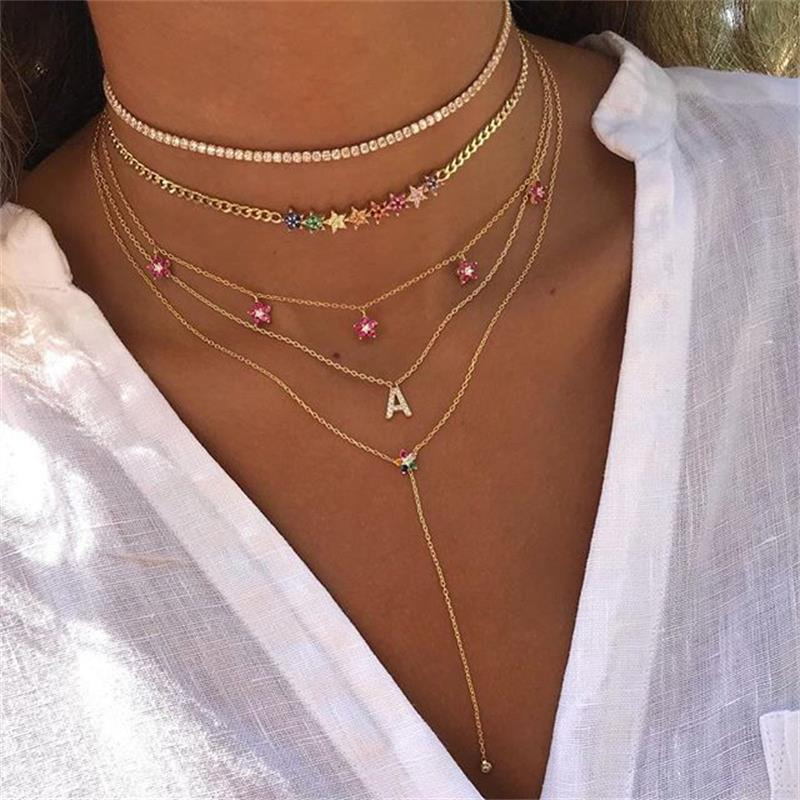 Женский чокер из кубинской цепи, выразительное ожерелье с радужным кубическим цирконием, колье золотого цвета с изящной звездой, простое Мо...