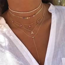 Arco-íris cz cubana link corrente gargantilha colares para mulheres cor de ouro delicado estrela charme simples moda elegância jóias