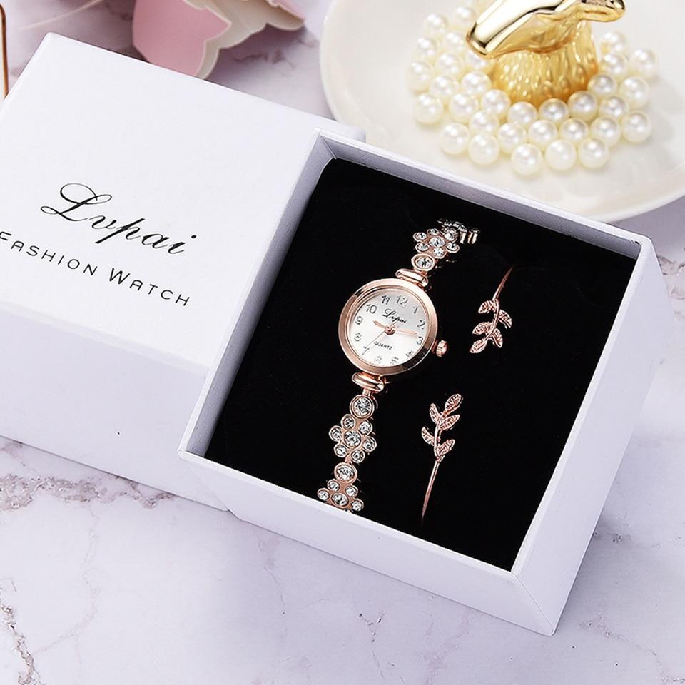 Lvpai Luxury Women Bracelet Watches Fashion Women Dress Wristwatch Ladies Quartz Sport Rose Gold Watch Clock Relogio Feminino