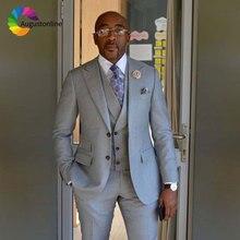 Customized Grey Groom Tuxedos Men Suit 2018 Terno Masculino Peaked Lapel Man Mens Wedding Suits 3 Pieces Jacket Pant Vest
