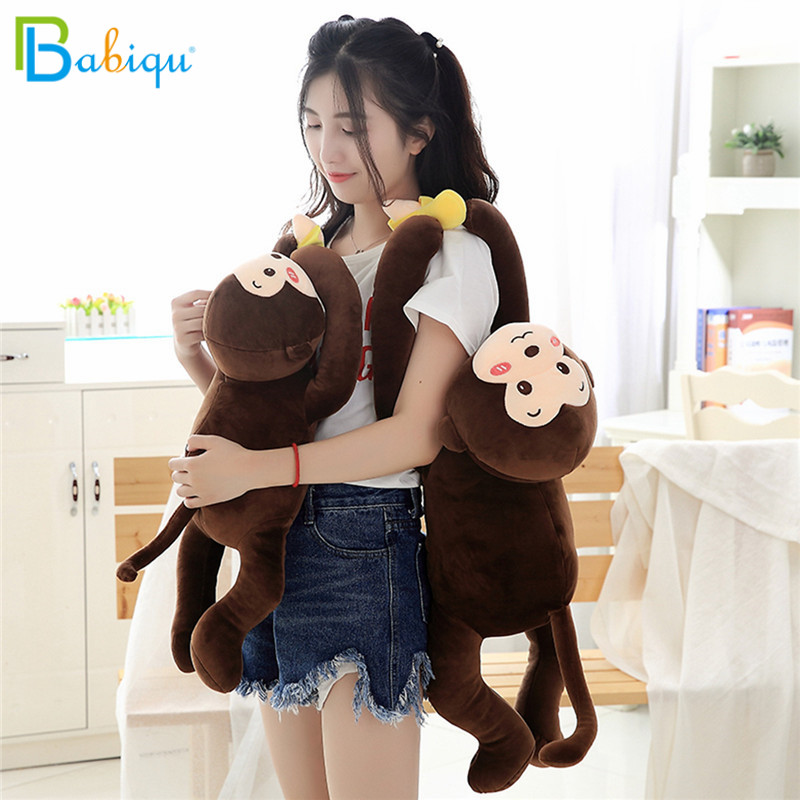 Babiqu 1pc 65cm Cute Animals Stuffed Pillow Lovely Rabbit Monkey Plush Toys for Children Kids Soft Pillow Funny Birthday Gifts cute 1pair 33cm funny stitch lovely plush car soft headrest vehicle bone rest neck pillow stuffed toy
